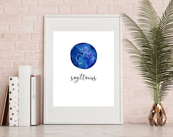Sagittarius Zodiac Print - Watercolour Print, Sagittarius Art, Sagittarius Poster, Sagittarius Gift, Wall Home Decor, INSTANT DOWNLOAD