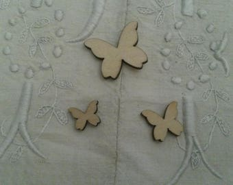 Set of 3 butterflies in natural wood / scrapbooking / to paint or decorate / embellishments
