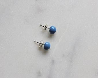 Small dot ceramic stud earrings, cobalt blue