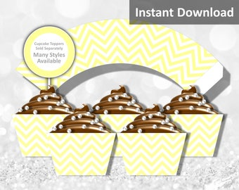 Baby Yellow Chevron Cupcake Wrapper Instant Download, Party Decorations