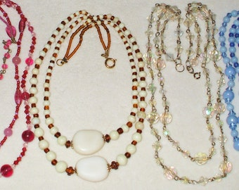 4 Vintage Glass Double strand beaded necklaces