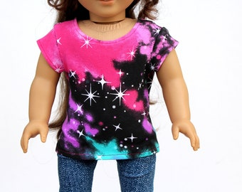 Fits like American Girl Doll Clothes - Galaxy Print Cap Sleeve Tee | 18 Inch Doll Clothes