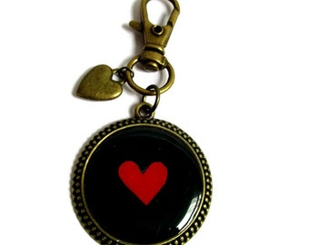 HEART KEYCHAIN - Keyring - Heart Key Ring - gift under 10 Keychain - stocking stuffer - gift for her - red - Valentine's Day