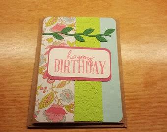 Happy Birthday card, Birthday Card, Happy Birthday, Handmade Card, Greeting Card, Floral Design Card, Handmade