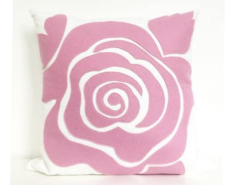 Modern Rose Petal Pillow in Soft Rose Pink Felt on Creamy White Cotton Canvas