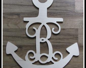 """Anchor Door Hanger with Monogram Letter - Unpainted Wood - 22"""" size - Door or Entryway Decor - Wood Letter - Wall Hanging"""
