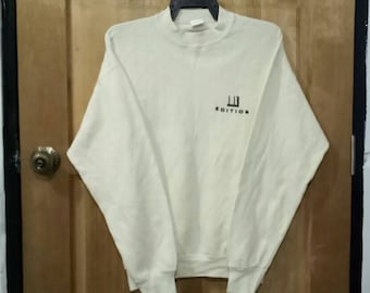 Rare!! DUNHILL edition sweatshirt spell out embroidery nice design light yellow colour large size
