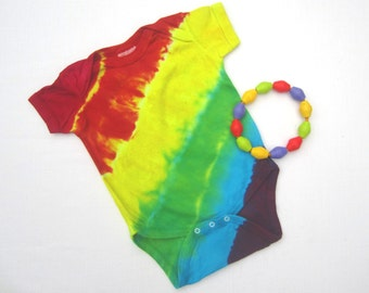 Baby One-Piece, Tie-Dyed, Organic Cotton, Rainbow Stripes, Size 6 Months