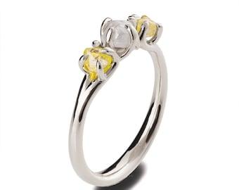 Raw Diamonds Engagement Ring, 18K White Gold Raw Diamond Ring, Three stone ring, Rough Diamond engagement ring, three stone engagement ring