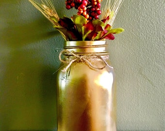 Painted Mason Jar- Twine Bow