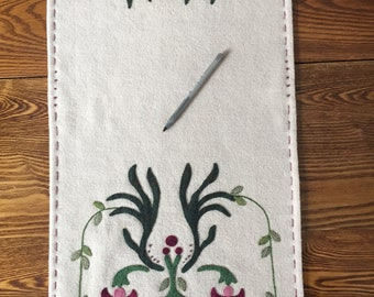 Hanging Fuchsia Appliqued Table Runner 14 x 33 inches 100% wool