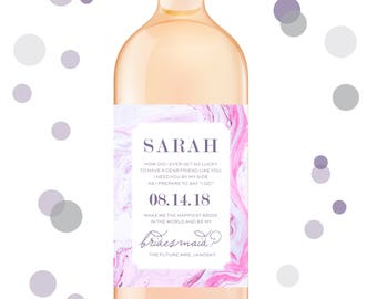 Marble Will you be my bridesmaid wine labels, bridesmaid wine labels, bridesmaid labels, bridesmaid gift - style 187