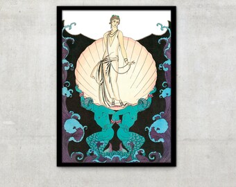 Art Deco print vintage style fashion illustration by George Barbier, IL004.