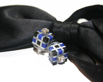 Black Tie Stud Earrings, Cube earrings, Mother of Pearl, Blue Lapis, Black Onyx with Rhinestones