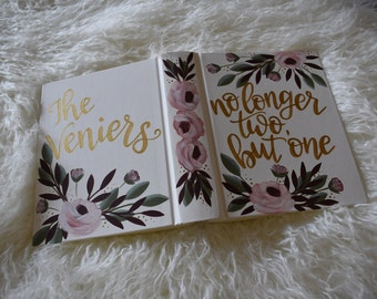 Hand Painted Bibles | Wedding Guestbook Alternative | no longer two but one | Personalized | Home Decor Keepsake