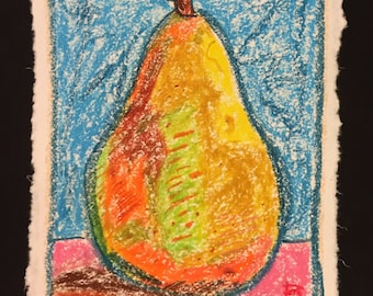 Pear pastel drawing | original oil pastel drawing | abstract art | wall art | fine art | cotton paper | 8.5x11 inches
