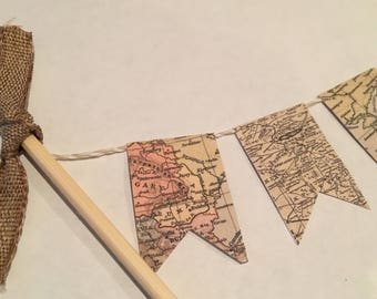 Vintage Map Cake Banner, Cake Garland,Travel