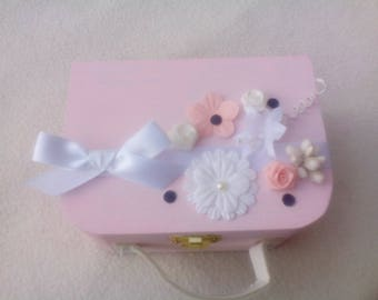 Original pillow, pink and white suitcase romantic