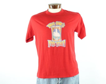 80s Screen Tee Beer T Shirt Short Sleeve Red Knit Vintage 1980s Mens Large L