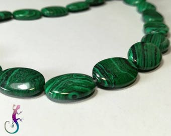 10 beads 18mm oval Malachite drops