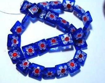 12x12mm red white and blue Millefiori glass beads from daizie46