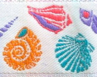 "Woven Ribbon - 1"" Multiple up and down Shells in White, Coral, Turquoise, Purple and Pink - Fabulous Colors"