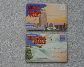 Two Vintage Postcard Packs 1930s Foldout Postcard Packets of Niagara Falls and City of Buffalo New York