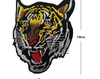 tiger face embroidered iron on patch Asian tiger applique badge