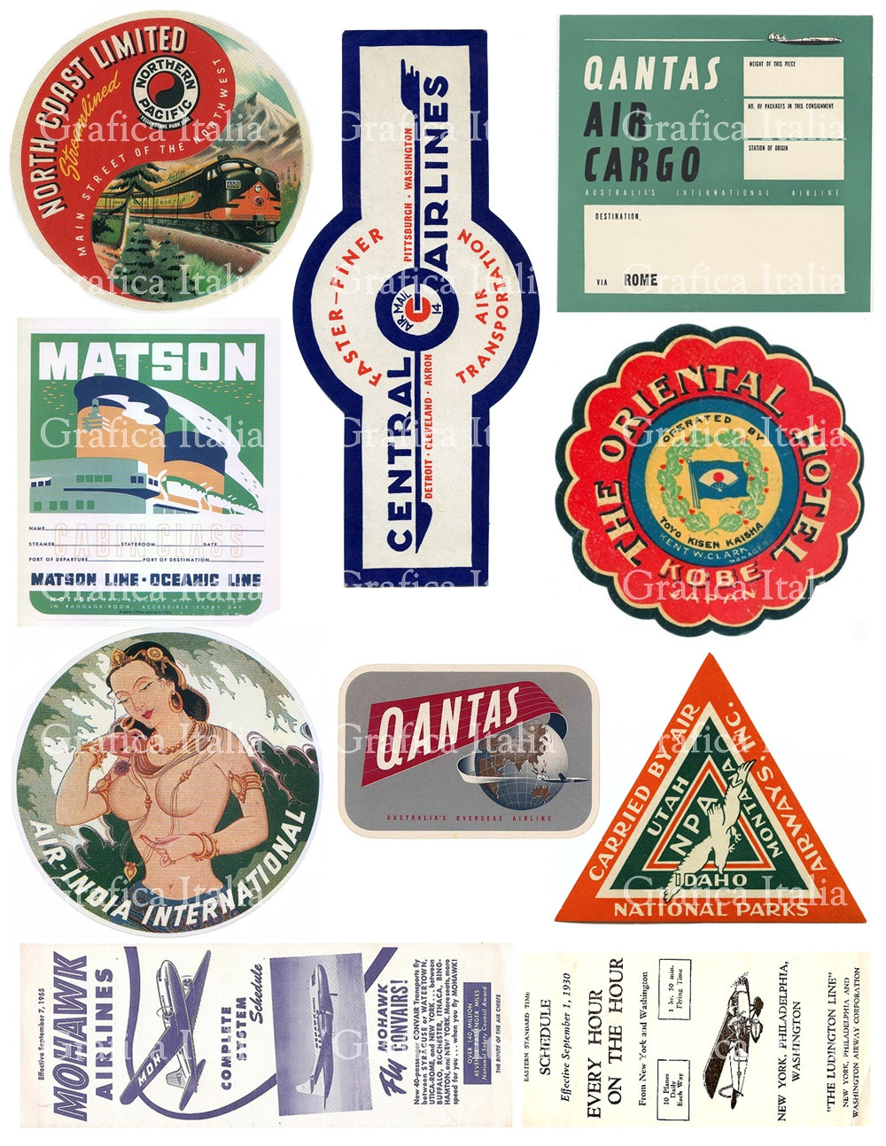 10 travel stickers clipart retro digital printable collage zoom freerunsca Image collections