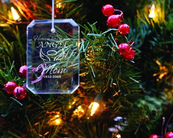 Personalized Glass Crystal Ornament - In Memory of - Christmas Tree Decoration - Xmas Decor - Memorial Gift - Sympathy Gift - Holiday Decor