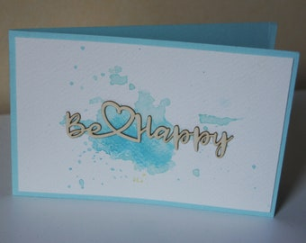 Card Be happy - Watercolor collection