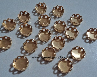 5mm brass round closed back lace edge cup settings 18 pcs lot l X N