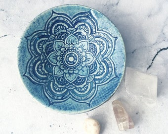 Blue Mandala, Ring Dish, Jewellery Plate, Boho Gift, Housewarming Gift, Hippy Decor, Blue Ring Dish, Trinket Bowl, Round Pottery Bowl.