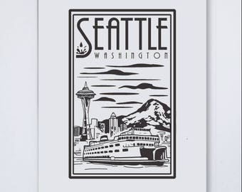 Seattle Linocut Large Art Print