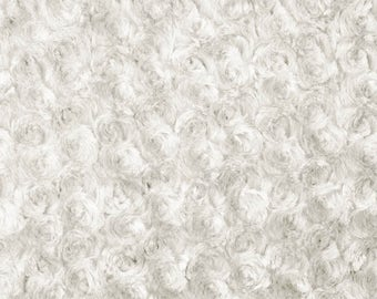 Ivory Rosebud Cuddle Minky Fabric, Sold by The Yard