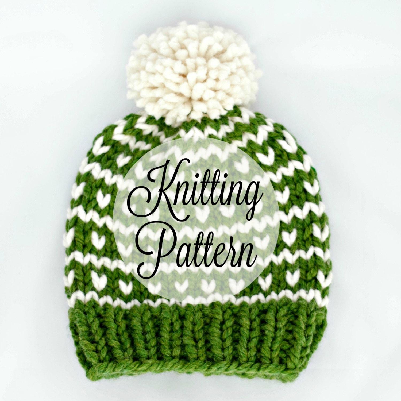 KNITTING PATTERN Chunky Knit Hat kids fair isle Beginner / Kayak Hat ...