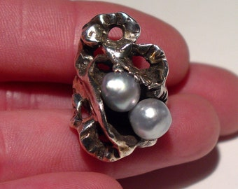 Art Nouveau Sterling Silver Grey BAROQUE Pearl Ring