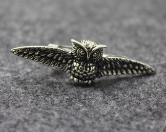 Owl Tie Clip, Silver Accessories, Novelty Accessories, Gift For Man