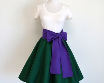 The Little Mermaid Ariel Inspired Kelly Green Circle Skirt and Purple Sash