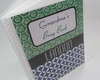 Grandmas brag book boy photo album baby photo album personalized photo album boy brag book baby album custom album 4x6 or 5x7 green navy 158