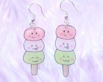 Kawaii dango shrink plastic earrings - pink, white and green