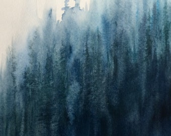 Forest painting, forest watercolor, Misty forest, pine forest watercolor, Minimal forest, Abstract forest, abstract landscape, watercolor