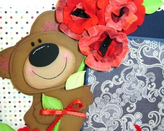 Scrapbooking Premade Bear Paper Piecing 12x12 Pages