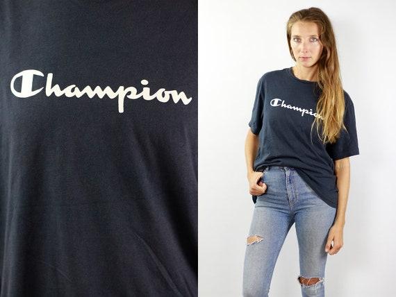 Champion T-Shirt 90s Champion Shirt Vintage Champion Top Blue Champion T-Shirt Champion Retro Shirt Blue Champion Top Champion Vintage Top