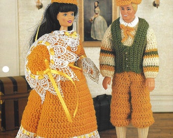 Annie's Fashion Doll Crochet Club Pattern for Barbie and Ken - Historical Costumes - YESTERYEAR OUTFITS- New Pattern