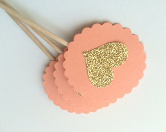 10 Coral and Gold Glitter Cupcake Toppers.  Elegant Topper for Wedding, Bridal or Baby Shower, Birthday Parties