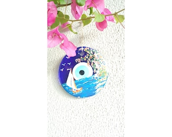 Hand Painted wall art, hand painted amulet wall, evil eye wall hanging, Protective eye, Amulet,  house warming gift, gift for girlfriend