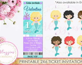 Mermaid ticket invitation, Under the sea Birthday, Under the sea Invitation, Mermaid Printables, Mermaid Birthday, Sea Party, Digital File