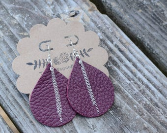 Leather Teardrop earrings in Cranberry with silver dangles