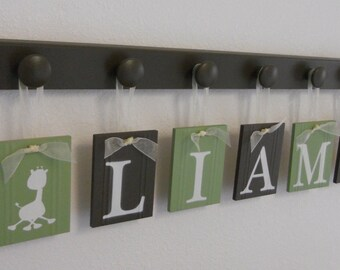 Giraffe Jungle Nursery Wooden Letters Chocolate Brown and Light Green Hanging Wood Wall Nursery Decor Custom Set with Hooks to Hang